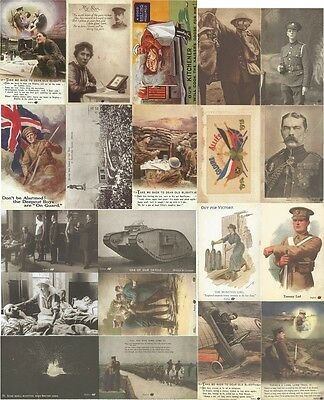 9 Double Sided Postcards World War I Army Soldiers Trenches Great War 1914-1918