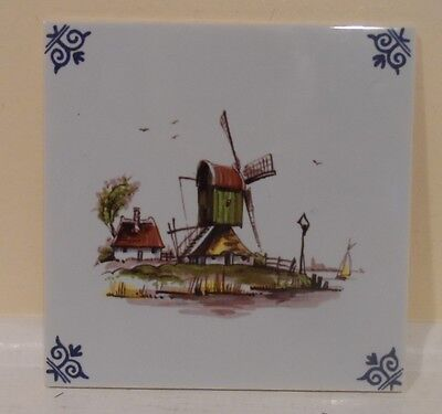 Delft   Hand Painted Holland Dutch Colored Tile