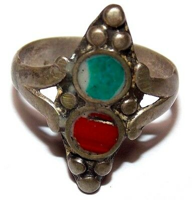 MEDIEVAL SILVER RING  MIX CORORED STONES 2.6gr 23.0mm (inner18.0mm)