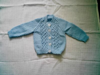 Baby Boys Hand Knit Blue Cardigan for 0-3 Months Baby New