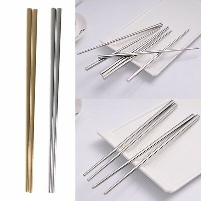 Chinese Chopsticks Stainless Steel Reusable Square Cutlery Shape 1 Pair