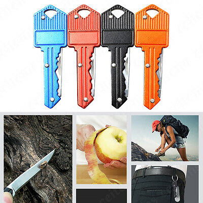 Portable Camping Outdoor Survival Pocket Folding Stainless Steel Key Shape Knife