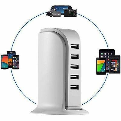6 USB  Charging Station Surge Protected Charge up to 6 items at once .