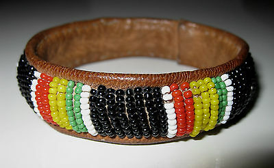 Vintage Hippy 70s Style KENYA Tribal MASAI ETHNIC BRACELET Bead Leather BANGLE