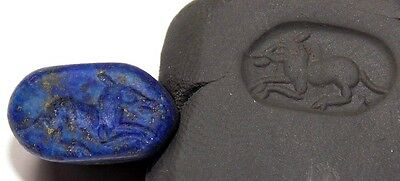 LAPIS LAZOULI STONE SEAL WITH ANIMAL PENDANT VERY BEAUTIFUL AND INTEREST 9.2gr