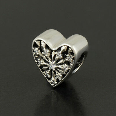 Authentic Genuine Pandora Sterling Silver Heart of Winter Charm - 791996CZ