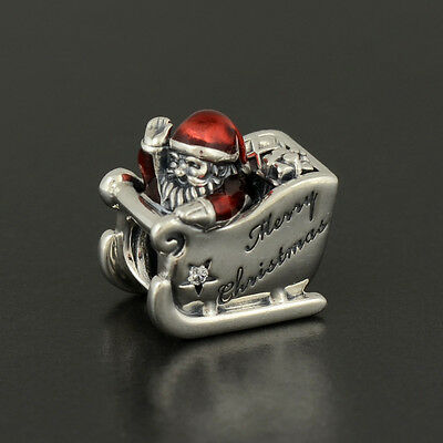 Authentic Genuine Pandora Sterling Silver Sleighing Santa Charm - 792004CZ