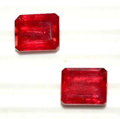 """Top Reddish Shade 10.80 CTS 12*10 MM Pair Ruby Color """"Doublet"""" Octagon Cut"""