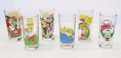 Nutella Vintage Set Of 6 Drinking Glasses With Cartoon Characters 1990s #10507