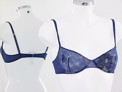 La Perla Marvel Bügel BH Gr. It: 2 / 34 in Blau Semi Transparent & Spitze Ki282