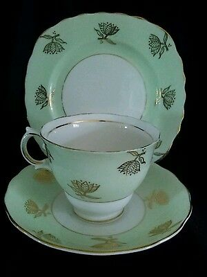 Vintage Colclough Green & Gold  Bone China Trio  Made In England