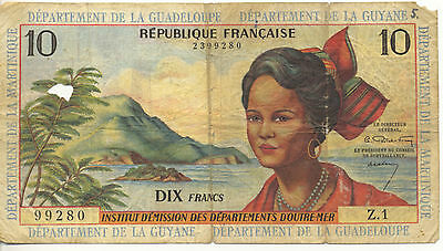 1964 French Antilles 10 Francs Pick #8 Martinique Guadeloupe Guyane