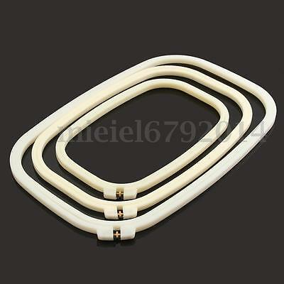 Rectangle Plastic Embroidery Frame Two Layer Cross Stitch Hoop Ring Sewing Tool