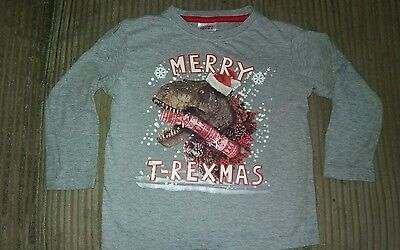 kids christmas t-rex dinosaur long sleeve grey top age 4 years