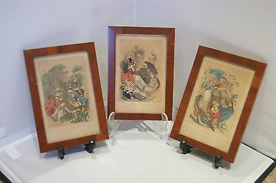 Three antique vintage Swedish Scandinavian colour prints in frames