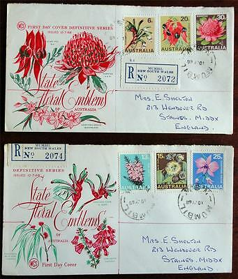Australia 1968 'State Floral Emblems' Registered on 2x First Day Covers (FDC)