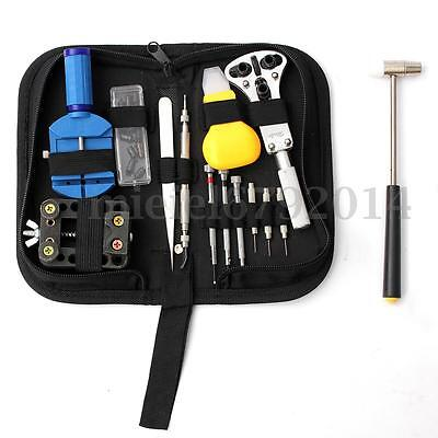 14Pcs Watchmaker Watch Repair Tool Kit Back Case Opener Remover Spring Pin Set