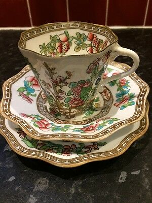 Coalport Indian Tree Fluted Cup Saucer And Side Plate No Chips Or Cracks