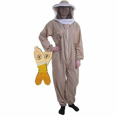 BUZZ BASIC Khaki Beekeeping Suit with Round Veil and Ventilated Gloves