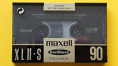 1x MAXELL XL II-S 90 Cassette Tape 1991 + MADE IN ENGLAND + NEW & SEALED +