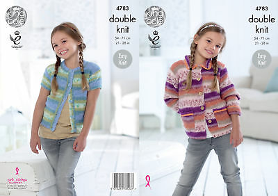 King Cole Girls DK Knitting Pattern Easy Knit Long Short Sleeve Cardigans 4783