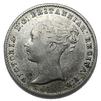 1843 Groat (Fourpence) - Victoria British Silver Coin - Nice