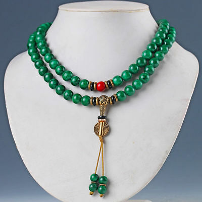 Chinese Natural Malachite & Brass Handwork Necklaces & Pendant