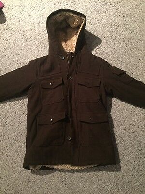 KIDS AGED 10 Brown WOOL FUR LINED COAT From Gap