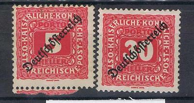 Austria 1919 Postage Dues SG D323, D328 Mint and Used