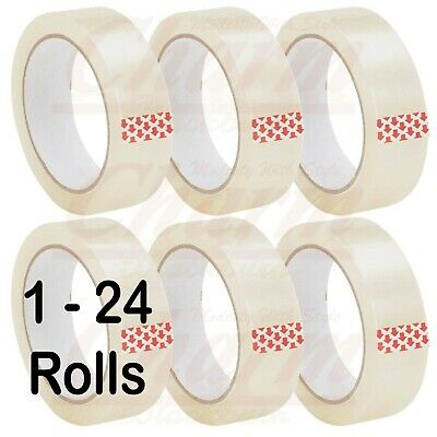 "6 12 Rolls Clear Sticky Tape Packing Sellotape 1"" 25Mm X 66M Cellotape Packaging"