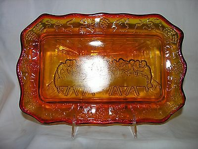Vintage Indiana Amber Glass Serving Tray The Last Supper