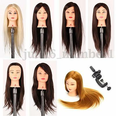 """26"""" Long 100% Real Hair Practice Training Mannequin Hairdressing Head + Clamp"""