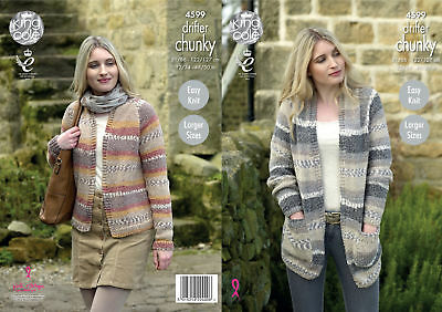 King Cole Womens Chunky Knitting Pattern Easy Knit Long or Short Cardigans 4599