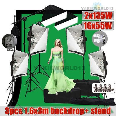 5750W Photo Studio Softbox Continuous Lighting Boom Arm Light Backdrop Stand Kit