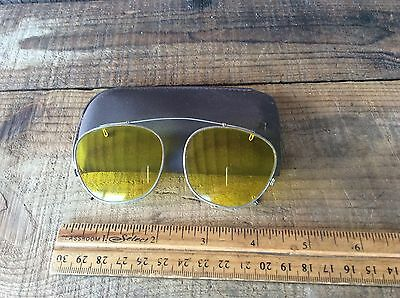 Vintage Yellow Clip On Shades For Glasses , Shooting Target Practice
