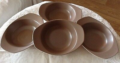 poole pottery - mushroom and sepia c54 cereal bowls x4