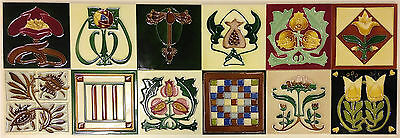 12 x INDIVIDUAL ART NOUVEAU TILE COLLECTION TUBELINED MAJOLICA Fireplace MINT