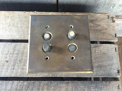 Vintage Dual Switch Brass Plate Salvaged Light Switch