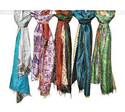 10 Pcs Indian Scarf Silk Dupatta Neck Wrap Hand Quilted Scarf Reversible Kantha
