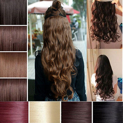 "Hair Extensions 24"" clip in full head weft lots colours one piece wavy straight"