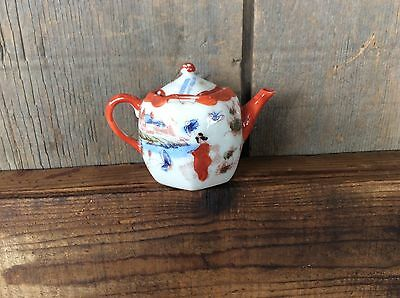 Vintage Nippon Porcelain Small Tea Pot Hand Painted Geisha Girls Country Scene