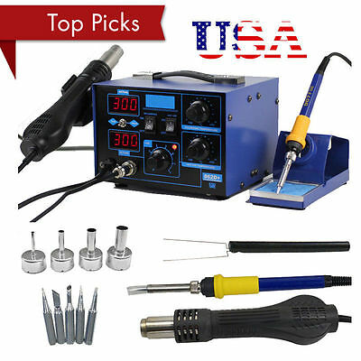 2in1 Soldering Rework Stations SMD Hot Air & Iron Desoldering Welder ESD 862D+MG