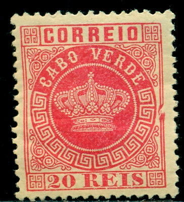 1881 Royal Crown,Definitives,Cabo Cape Verde,Mi.11A,20R,perf.12.5,MH
