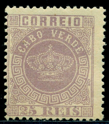 1881 Royal Crown,Definitives,Cabo Cape Verde,Mi.12A,25R,perf.12.5,MNG