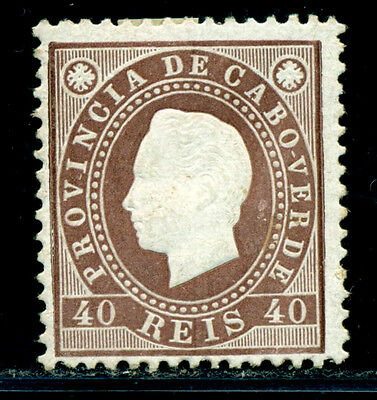 1886 King Luis I,Definitives,Cabo Cape Verde,Mi.19A,40R,perf.12.5,MLH