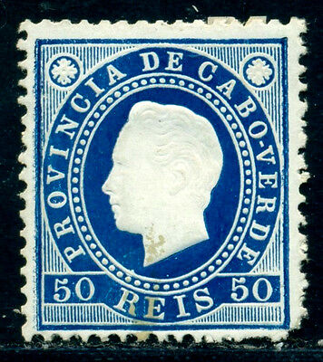 1886 King Luis I,Definitives,Cabo Cape Verde,Mi.20A,50R,perf.12.5,MLH