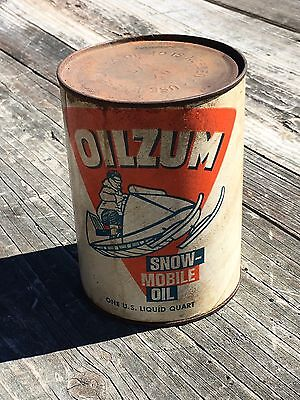 Vintage Oilzum Snow-Mobile Motor Oil SAE 40 Sealed Quart Can