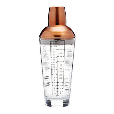 Bar Craft Copper Finish Glass Cocktail Shaker