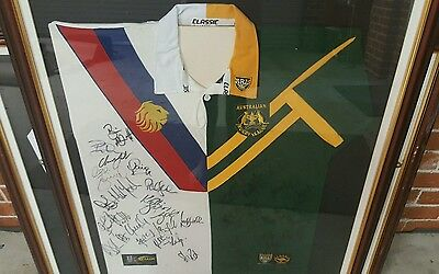 autographed framed rugby league split jersey
