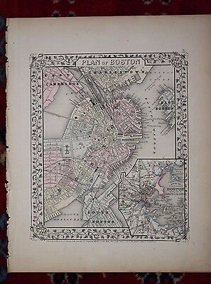 Plan of Boston in Counties Rare Original Antique 1870 Mitchell's Atlas Map